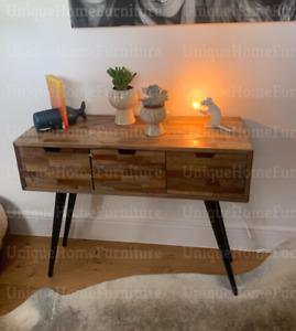 Industrial Console Table Rustic Solid Wood Vintage Side Hallway Metal Sideboard