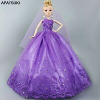 Purple Veil Wedding Dress Outfit Doll Clothes For Barbie Doll House 1/6 BJD Doll