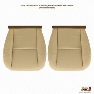 2007 2008 Cadillac Escalade Driver & Passenger Bottom Leather Seat Cover Tan