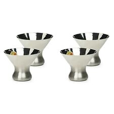 RSVP Stemless Martini Glasses 4 Set 18/8 Stainless Steel 8 oz Outdoor Pool Patio