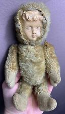 Antique Mohair Celluloid Girl Face Bear German Schuco Steiff 8� Doll
