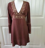 Cejon Womens Tunic Dress V-Neck Brown Gold Embroidered Sequins Boho Sz S/M NWT