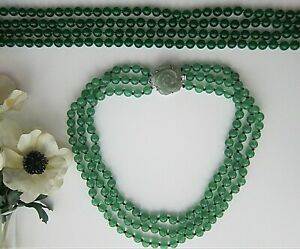 """3 or 4 Row, Green Jade Beads Necklace 17""""-21"""" - New."""