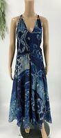 Polo Ralph Lauren Womens Printed Silk Georgette Maxi Dress Size 6 Blue Summer