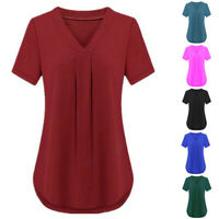 Women V-neck Short Sleeve Casual Loose Ladies T-Shirt Blouse Top Plus Size S-6XL