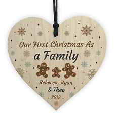 Handmade 1st Christmas As A Family Wooden Heart Tree Decoration New Baby Gift