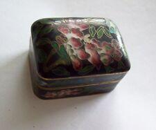 Lovely Vintage Chinese Cloisonne Black & Rose Floral Trinket Stash Box
