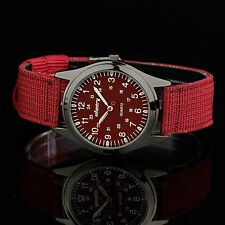INFANTRY Herren Analog Armbanduhr Uhr Damenuhr Herrenarmbanduhr Sportuhr Rot