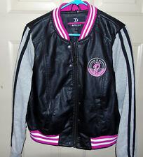 Womens Dollhouse Collegiate Vegan Leather and Fleece Varsity Jacket - Size  1X f594768be0