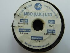 LOW MELTING POINT SOLDER WIRE  MBO SN43Pb43 0.6MM RL3 FLUX   X1 Metre