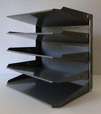 Vintage Metal File Holder 5 Shelves Slots Office Desk Tray Industrial Gray