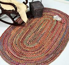 "8x11"" Feet Natural Braided Oval Chindi Jute Area Rag Rug Handmade Woven Mats Rug"