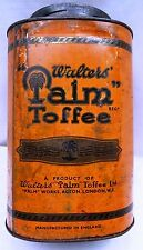 VINTAGE WALTERS PALM TOFFEE VINTAGE LITHO ADVERTISING TIN BOX LONDON GENUINE OLD