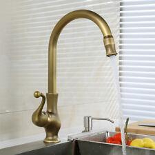 Deck Mounted Antique Brass Swivel Bathroom Kitchen Basin Sink Faucet Tap Mixer