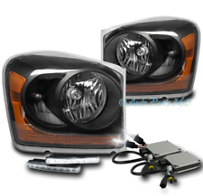 04-05 DODGE DURANGO CRYSTAL REPLACEMENT HEADLIGHTS LAMPS BLACK W/DRL LED+6K HID
