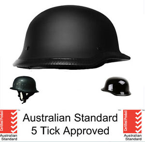 German style skull cap helmet  open face Matt black Gloss Carbon 5 tick approved