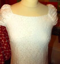 DOROTHY PERKINS ROBE DRESS DENTELLE MANCHES FRONCEES T UK 8 OU 36/38