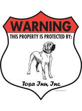 "Warning! Tosa Inu - Property Protected Aluminum Dog Sign - 7"" x 8"" (Badge)"