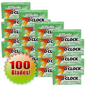 Gillette 7'O Clock Sharp Double Edge Stainless Steel Safety Razor Blades