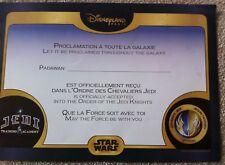 Disneyland Paris Star Wars Jedai Training Academy Certificate