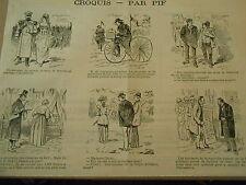 Caricature Vignettes Vélocipède M. de Lavigerie protant la bonne parole 1891