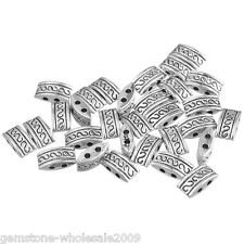 50PCS Wholesale Lots Silver Tone 2Holes Spacer Beads GW
