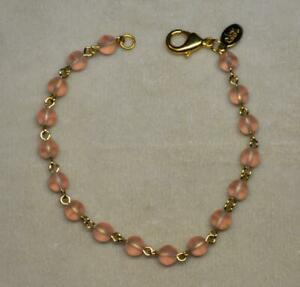 """JOAN RIVERS GOLD PLATED 6MM FROSTED PINK GLASS BEAD BRACELET NEW 8"""" L NEW IN BOX"""