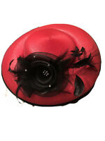 Kathy Jeanne Red Straw Vintage Style WOMEN'S Hat Tulle flower feathers bling USA