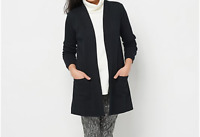 Isaac Mizrahi Live! Essentials Open Front Knit Cardigan Color Black Size L