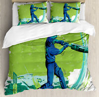Sports Duvet Cover Set with Pillow Shams Cricket Player Pitching Print