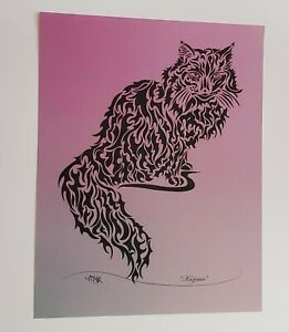Kazimir abstract tribal cat drawing print purple