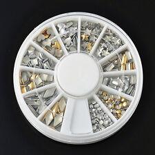 3D 120Pcs Metal Nail Art Tips Decoration Metallic Studs Stickers Gold Silver L8
