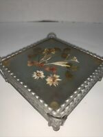 "Glass Coasters Pressed Dried Flowers Set Of 4 in Metal Holder Vintage 4"" Square"