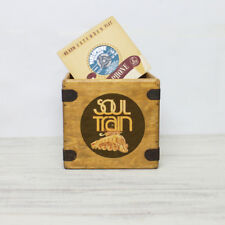"""Soul Train Record Box 7"""" Singles Disco Funk R&B Retro Wooden Vinyl Crate"""
