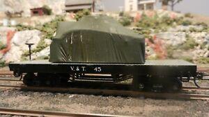 AHM Rivarossi  HO V&T Old Time Truss Rod Flat Car, w/ Tank Load, Upgraded, Exc