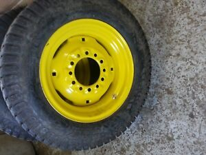 TWO 25/8.50x14 Carlisle John Deere 4 Ply Turf Tires on John Deere 6 Hole Wheels