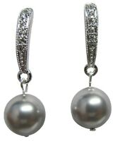 Large 14mm 8mm White Pearl Sterling Post Lace CZ Double Sided Earring Ear Jacket