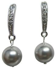 Wedding Earrings Grey Pearl with Diamante Dangling SKU:ERC 901 Diamente jewelry