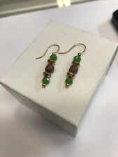 Alex and Ani Tidepool Beaded Drop Earrings, gold/green, *NEW* *FREE Shipping*