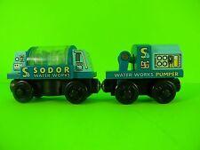 RARE Retired Wooden Thomas & Friends Train SODOR WATER WORKS TANKER CAR & PUMPER