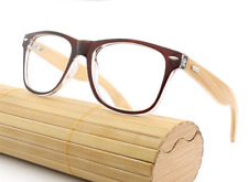 Classic Bamboo Wood temple Women men Eyeglass Frames RX Glasses brown Sunglasses