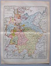 Landkarte Deutschland während des Deutschen Bundes - Lithographie 1890