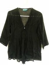 BLUE ILLUSION WOMENS Black Textured Silk Blouse Button Cardigan Shirt Top Sz S