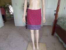 Talbots Cotton Red/White/Blue Straight/Pencil  Skirt Size 2P
