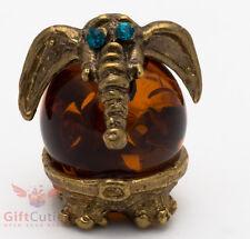 Solid Brass Amber Figurine of Indian Elephant with big ears talisman IronWork
