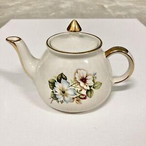 Gibsons Staffordshire England Teapot Floral Rose Gold Trim Vintage Flower
