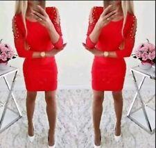 Damen Mode bodycon Kleider Minikleid casual Abendkleid langarm rot Gr. S 36