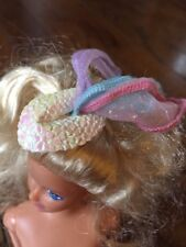 Barbie Elastic White Pink Blue Hat Vintage ( Doll Not Included)
