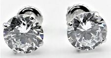3 Carat Round Created Diamond Stud Earrings Real Solid 14K White Gold Screw Back