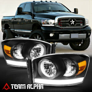 Fits 2006-2009 Dodge Ram 1500/2500/3500{LED BAR DRL}Black/Amber Corner headlight